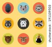 animal portrait set with flat... | Shutterstock .eps vector #191109503