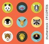 animal portrait set with flat... | Shutterstock .eps vector #191109506