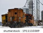 Abandoned Orange Train Cars Sit ...