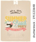vintage  retro summer beach... | Shutterstock .eps vector #191123648