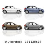 Stock photo set of d hatchback car 191125619