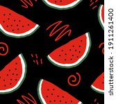 watermelon slices and doodles...   Shutterstock .eps vector #1911261400