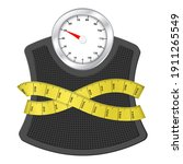bathroom scale with measuring... | Shutterstock .eps vector #1911265549