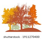 autumn woodland  silhouette of... | Shutterstock .eps vector #1911270400