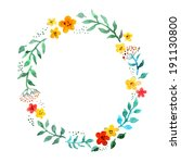 floral circle wreath with cute... | Shutterstock . vector #191130800