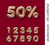 set of 3d golden numbers on... | Shutterstock .eps vector #1911348763