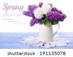 Lilac In Vase Isolated On Whit...