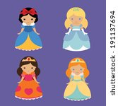 four cute fantastic princesses | Shutterstock .eps vector #191137694