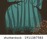 gloomy forest in the fog  the... | Shutterstock .eps vector #1911387583