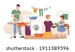 family washes clothes  dries... | Shutterstock .eps vector #1911389596