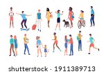 crowd of people performing... | Shutterstock .eps vector #1911389713