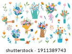 hand holding or giving blooming ... | Shutterstock .eps vector #1911389743