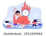 male student learning before... | Shutterstock .eps vector #1911424963