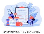 happy couple signing loan... | Shutterstock .eps vector #1911433489