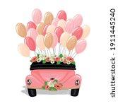 retro wedding car decorated... | Shutterstock .eps vector #1911445240