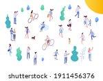 people crowd  city park... | Shutterstock .eps vector #1911456376