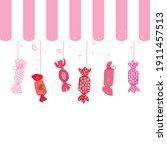 pink fruity sweet candies....   Shutterstock .eps vector #1911457513