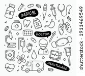 medical and healthcare doodles... | Shutterstock .eps vector #1911469549