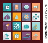 travel and vacation flat icons... | Shutterstock . vector #191147978