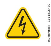 high voltage sign in yellow...   Shutterstock .eps vector #1911516430