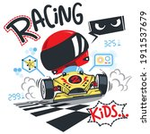 cute racing cars typography t... | Shutterstock .eps vector #1911537679