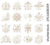 esoteric symbols. vector thin...   Shutterstock .eps vector #1911608359