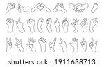 set of sign language symbols. ... | Shutterstock .eps vector #1911638713