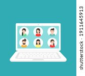 webinar  online class  remote... | Shutterstock .eps vector #1911645913