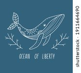 ocean of liberty. line art... | Shutterstock .eps vector #1911664690
