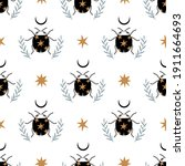 seamless pattern with bug ... | Shutterstock .eps vector #1911664693