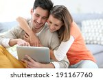 young people at home connected... | Shutterstock . vector #191167760