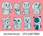 cats and dogs characters doodle ...   Shutterstock .eps vector #1911687880