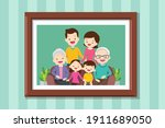 family photo on wall in wooden... | Shutterstock .eps vector #1911689050