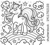 cartoon unicorn on a rainbow....   Shutterstock .eps vector #1911702133