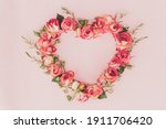 Rose In A Heart Shape On Pink...