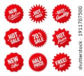 realistic red tilted price tags ... | Shutterstock .eps vector #1911707500