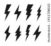 lightning bolt icons collection.... | Shutterstock .eps vector #1911708010