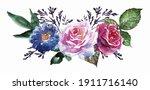 hand painted watercolor flower...   Shutterstock . vector #1911716140