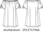 vector off shoulder dress... | Shutterstock .eps vector #1911717466