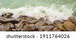Waves Crashing On Rocks Off The ...