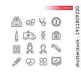 medical or medicine line vector ... | Shutterstock .eps vector #1911809230