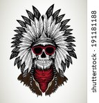 american indian / skull vector / T-shirt graphics / men's t-shirt illustration - stock vector
