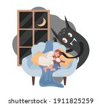 little boy sleeping on sofa ... | Shutterstock .eps vector #1911825259