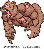 angry zombie bear roaring... | Shutterstock .eps vector #1911888883