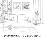 living room graphic black white ... | Shutterstock .eps vector #1911924040