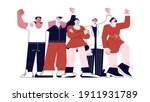 male and female protesters... | Shutterstock .eps vector #1911931789