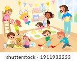 children  kids play together... | Shutterstock .eps vector #1911932233