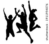 vector silhouettes of happy ... | Shutterstock .eps vector #1911954076