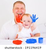 young father and his daughter... | Shutterstock . vector #191196419