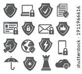 secure and shield icons on...   Shutterstock .eps vector #1911966616